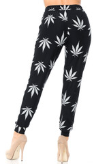 Brushed  Black Marijuana Joggers