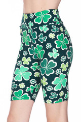 Brushed  Green Irish Clover Plus Size Shorts - 3 Inch