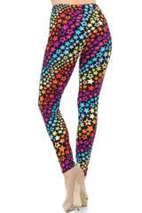 Brushed  Flowing Rainbow USA Stars Leggings