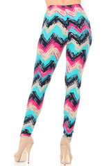 Brushed  Electric Blue Chevron Plus Size Leggings