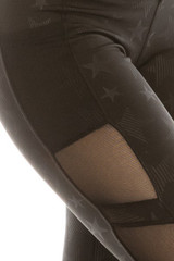 Premium Sport Vintage Star Mesh Accent Workout Leggings with Side Pocket