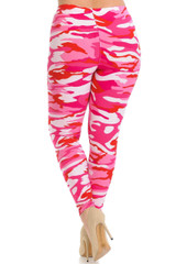 Brushed  Pink Camouflage Extra Plus Size Leggings - 3X-5X