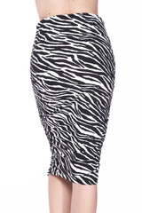 Buttery Soft Zebra Stripes Pencil Skirt