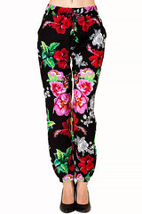 Colorful Floral Burst Fashion Harem Joggers