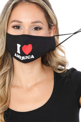 Ear Strings of I Love America Face Mask with Built In Filter and Nose Bar