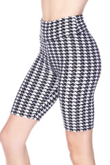 Buttery Soft Houndstooth Biker Shorts - 3 Inch Waist Band
