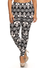 Front side image of Buttery Soft Plus Size Tribal Skull Leggings