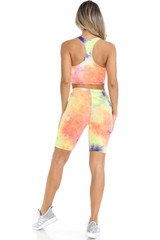 Indigo Tie Dye 2 Piece Shorts and Cropped Bra Top Set
