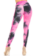 Premium Fuchsia Tie Dye Scrunch Butt Workout Leggings with Side Pockets