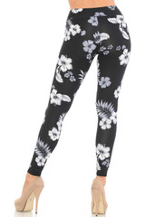 Black Floral Brushed Sport Leggings