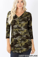 Rayon Camouflage 3/4 Sleeve V-Neck & Hem Top