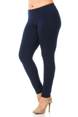 45 degree angled view of navy plus size qUSA Cotton Full Length Leggings