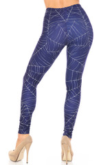 Back Creamy Soft Spiderwebs Halloween Extra Plus Size Leggings - 3X-5X - By USA Fashion™