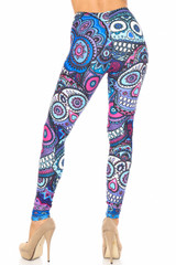 Creamy Soft Jumbo Purple Sugar Skulls Extra Plus Size Leggings - 3X-5X - By USA Fashion™