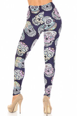 Creamy Soft Indigo Jelly Bean Sugar Skull Extra Plus Size Leggings - By USA Fashion™