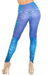 Creamy Soft Vibrant Blue Reptile Leggings - By USA Fashion™