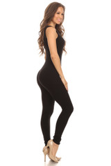 Right Side Image of Black USA Basic Cotton Jumpsuit