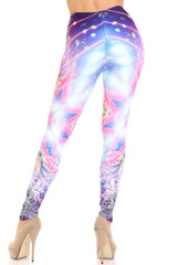 Creamy Soft Purple Mandala Lights Extra Plus Size Leggings - 3X-5X - By USA Fashion™