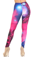 Creamy Soft Fuchsia Galaxy Plus Size Leggings - USA Fashion™