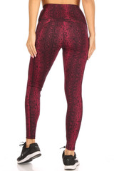 High Waisted Red Snakeskin Plus Size Sports Leggings with Side Pockets