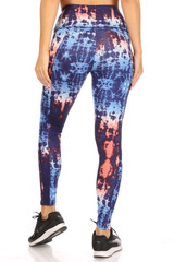 High Waisted Blue Tie Dye Sports Leggings with Side Pockets