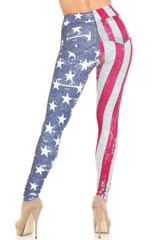 Creamy Soft USA Flag Denim Jeans Plus Size Leggings - USA Fashion™