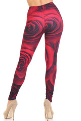 Creamy Soft Jumbo Red Rose Extra Plus Size Leggings - 3X-5X - USA Fashion™