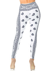Creamy Soft White Bandana Plus Size Leggings - USA Fashion™