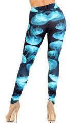 Creamy Soft Electric Blue Jelly Fish Extra Plus Size Leggings - 3X-5X - USA Fashion™