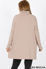 Rear image of Ash Mocha Rayon Cowl Neck Dolman Sleeve Plus Size Top