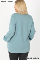 Back image of Blue Grey Cotton Round Crew Neck Plus Size Sweatshirt with Side Pockets