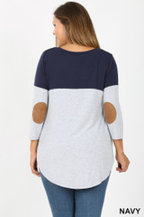 Back view of Navy Color Block V-Neck 3/4 Sleeve Plus Size Top with Front Pocket