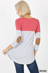 Back view of Rose Color Block V-Neck 3/4 Sleeve Top with Front Pocket