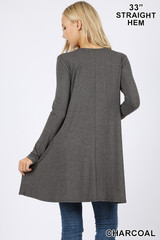 Back of Charcoal Long Sleeve Swing Tunic with Pockets