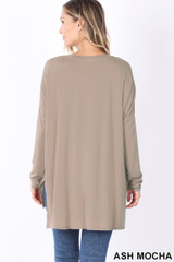 Back image of Ash Mocha Dolman Long Sleeve V-Neck Side Cut Hi-Low Hem Top