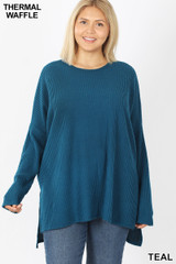 Front view of Teal Brushed Thermal Waffle Knit Round Neck Hi-Low Plus Size Sweater