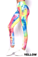 Tie Dye Scrunch Butt Textured High Waisted Leggings with Side Pockets