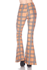 Buttery Soft Carmel Plaid Bell Bottom Leggings