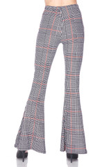 Buttery Soft Burgundy Plaid Bell Bottom Leggings
