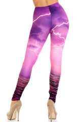 Creamy Soft Pink Lightning Storm Extra Plus Size Leggings - 3X-5X - USA Fashion™