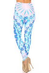 Creamy Soft Bursting Blue Mandala Extra Plus Size Leggings - 3X-5X - USA Fashion™