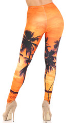 Creamy Soft Sunset Palm Plus Size Leggings - USA Fashion™