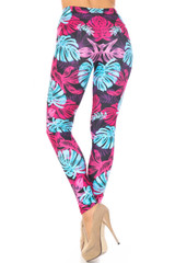 Creamy Soft Vivid Tropical Leaves Extra Plus Size Leggings - 3X-5X - USA Fashion™