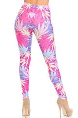 Creamy Soft Pretty in Pink Marijuana Leggings - USA Fashion™