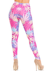 Creamy Soft Pretty in Pink Marijuana Plus Size Leggings - USA Fashion™