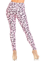 Creamy Soft Pink Heart Leopard Plus Size Leggings - USA Fashion™