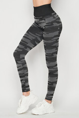 Left side of Charcoal Seamless Camouflage High Waist Sport Leggings