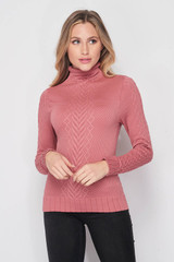Front side image of Seamless Fitted Mock Neck Cable Knit Top