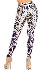 Rear view ofCreamy Soft Valhalla Plus Size Leggings - USA Fashion™ showing off the super flattering design oriented in an almost contouring way.
