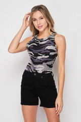 Front of Brushed Charcoal Camouflage Mock Neck Bodysuit with a trendy monochromatic army print design, shown paired with black shorts.